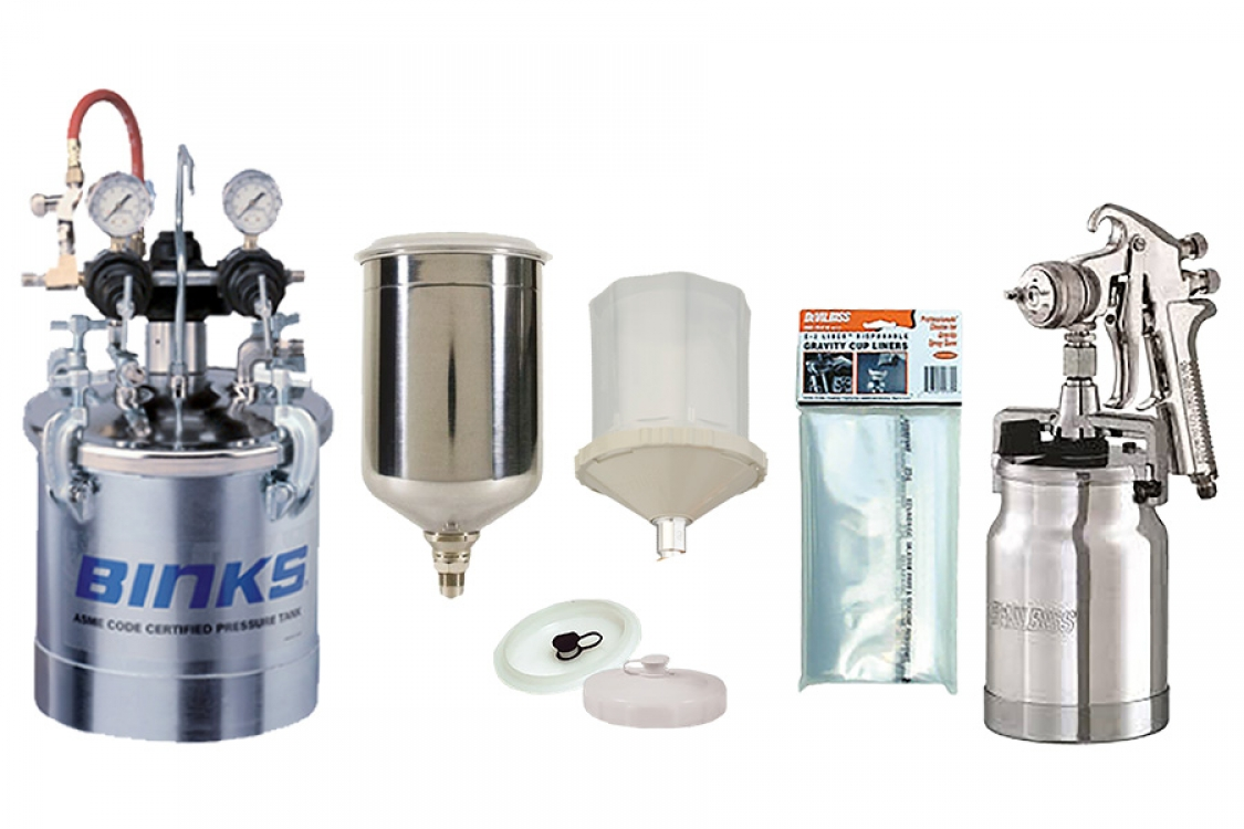 low pressure gravity, siphon and pressure feed cups